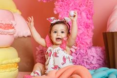 Cute little girl celebrate her first birthday Stock Image