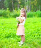 Cute little girl child with bouquet chamomiles flowers in summer Stock Photography