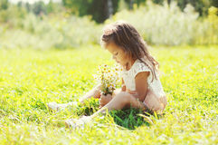 Cute little girl child with bouquet of chamomiles flowers in summer Royalty Free Stock Image