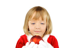 Cute little girl with Christmas ball Stock Photography