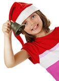 Cute little girl with christmas bell Stock Image