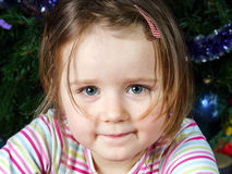 Cute little girl christmas portrait Stock Photos