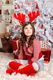 Cute little girl at Christmas Royalty Free Stock Images