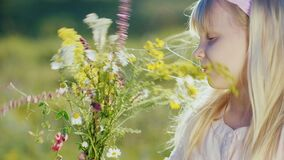 Cute little girl collects composition from wild flowers on a background of green landscape.  stock footage