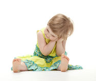 Cute little girl in colorful dress Stock Photos