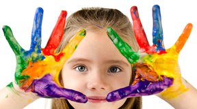 Cute little girl with colorful painted hands Stock Photography