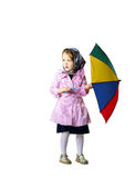 Cute little girl with colorful umbrella Stock Photography