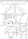 Cute little girl coloring page Royalty Free Stock Photos