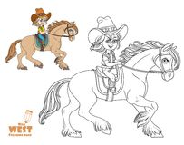 Cute little girl in a cowboy suit riding a horse coloring page Royalty Free Stock Photo