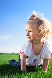 Cute little girl crawling on the green grass in the park Royalty Free Stock Photo