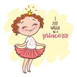 Cute little girl with a crown. Little princess. Inscription: I just wanna be a princess. doodle nursery illustration Stock Photos