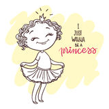 Cute little girl with a crown. Little princess. Inscription: I just wanna be a princess. doodle nursery illustration. Hand-drawn contour for children coloring Royalty Free Stock Image