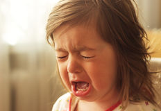 Cute little girl is crying Royalty Free Stock Image