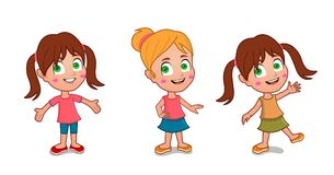 Cute Little girl. Different poses smiling Royalty Free Stock Photography