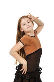 Cute little girl dancing isolated on white background Royalty Free Stock Photography