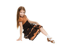 Cute little girl dancing isolated on white background Royalty Free Stock Image