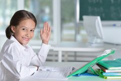 Cute little girl doing homework. At home Royalty Free Stock Images