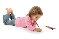 Cute little girl drawing Stock Photography