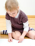 Cute little girl drawing Royalty Free Stock Photo