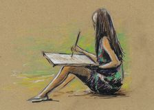 Cute little girl is drawing. Drawing by hand Royalty Free Stock Image