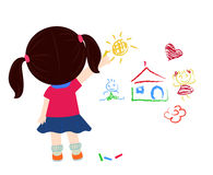 Cute little girl drawing Royalty Free Stock Photos