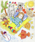 Cute little girl dreaming. Acrylic illustration of little cute boy dreaming Stock Photography