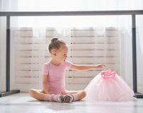 Girl is studying ballet royalty free stock photo