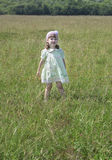 Cute little girl in dress stands at green meadow Royalty Free Stock Images