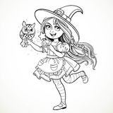 Cute little girl dressed as witch with a owl and magic wand Royalty Free Stock Photography