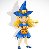 Cute little girl dressed as a witch Trick or Treat. Halloween party 31 Stock Photography