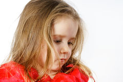 Cute little girl dressed like a princess, close-up portrait Royalty Free Stock Images