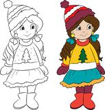 Cute little girl, dressed for winter, in color and in black and white, for children`s coloring book royalty free illustration