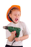 Cute little girl with drill Stock Image