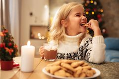 Cute little girl drinking cacao and eating cookie at home. At new year Royalty Free Stock Photo