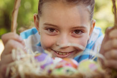 Cute little girl with easter eggs Royalty Free Stock Photos