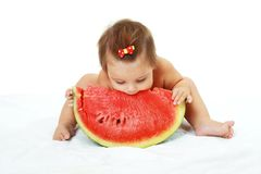 Cute little girl eat watermelon slice Royalty Free Stock Photos