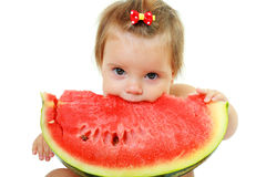 Cute little girl eat watermelon slice Stock Images