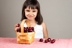 Cute little girl eating cherries Royalty Free Stock Photos