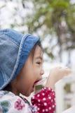 Cute little girl eating a dessert. Asian cute little girl eating a dessert Stock Image