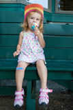 Cute little girl eating an ice cream Royalty Free Stock Photo