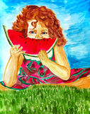 Cute little girl eating watermelon, hand drawn artwork Royalty Free Stock Images
