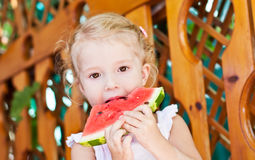 Cute little girl eating watermelon. In summertime royalty free stock photography