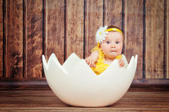 Cute little girl in the egg basket. Royalty Free Stock Photos
