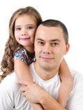 Cute little girl embracing her father isolated Royalty Free Stock Photography