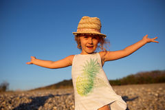 Cute little girl emotional outdoor portrait Stock Images