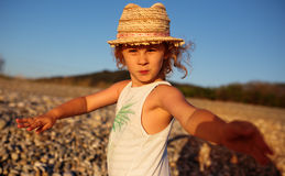 Cute little girl emotional outdoor portrait Stock Photography