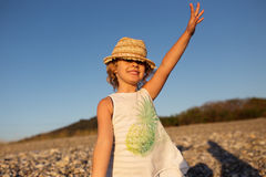 Cute little girl emotional outdoor portrait Royalty Free Stock Images