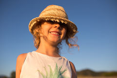 Cute little girl emotional outdoor portrait Stock Image