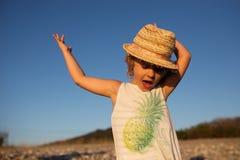 Cute little girl emotional outdoor portrait Stock Photos