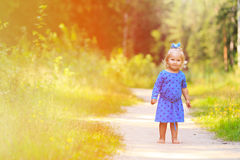 Cute little girl enjoying nature, playing in. Cute little girl walking in summer forest, kids summer outdoor activities Royalty Free Stock Images